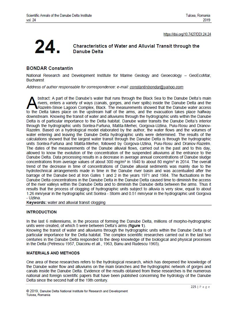 Cover of 24. Characteristics of Water and Alluvial Transit through the Danube Delta