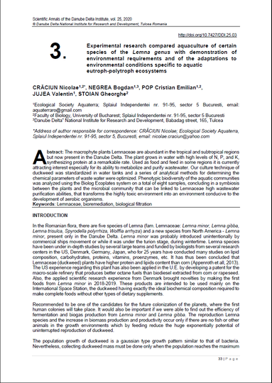 Cover of 03. Experimental research compared aquaculture of certain species of the Lemna genus with demonstration of environmental requirements and of the adaptations to environmental conditions specific to aquatic eutroph-polytroph ecosystems