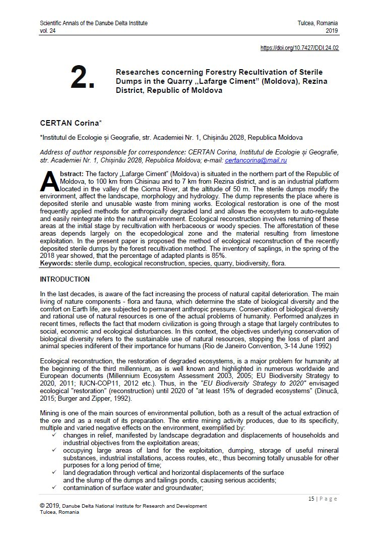 "Cover of 02. Researches concerning Forestry Recultivation of Sterile Dumps in the Quarry ,,Lafarge Ciment"" (Moldova), Rezina District, Republic of Moldova"