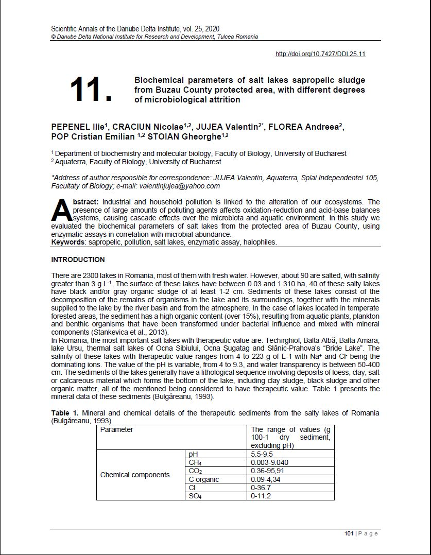 Cover of 11. Biochemical parameters of salt lakes sapropelic sludge from Buzau County protected area, with different degrees of microbiological attrition